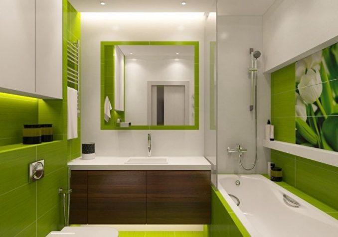 Дизайн бело-зеленой ванной