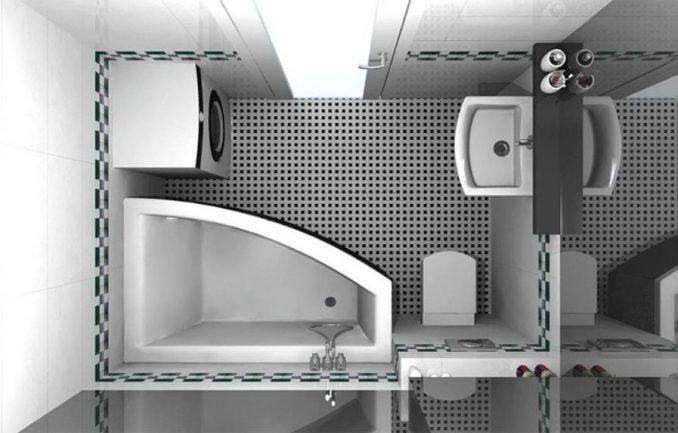 Бело - черная ванная