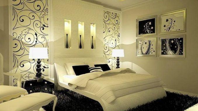 Черно-белоя спальня