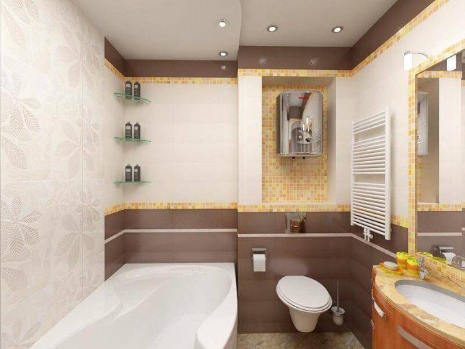 Дизайн цветной ванной комнаты