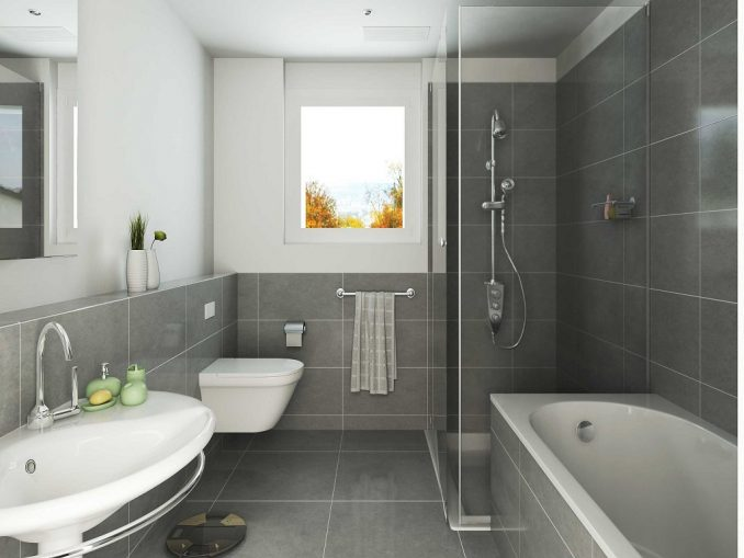 Фото просторнной ванной комнаты совмищеной с туалетом