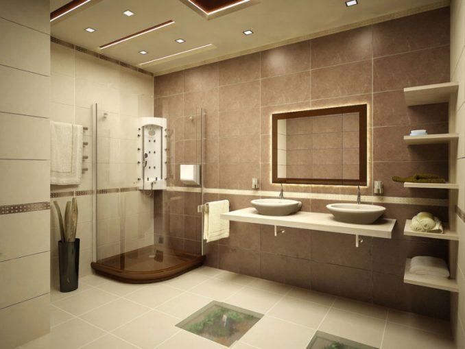 Фотографии просторной ванной комнаты совмещеннной с туалетом