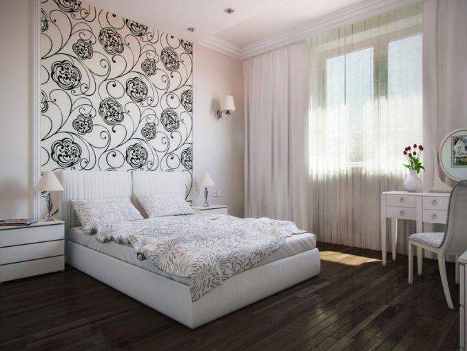 Комбинирование обоев для спальни