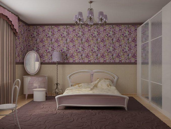 Комбинирование обоев для спальни 2 видов