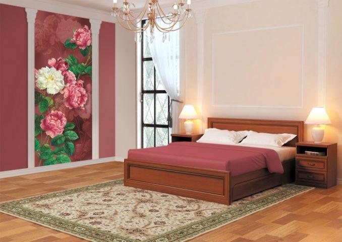 Комбинирование обоев для спальни с цветами
