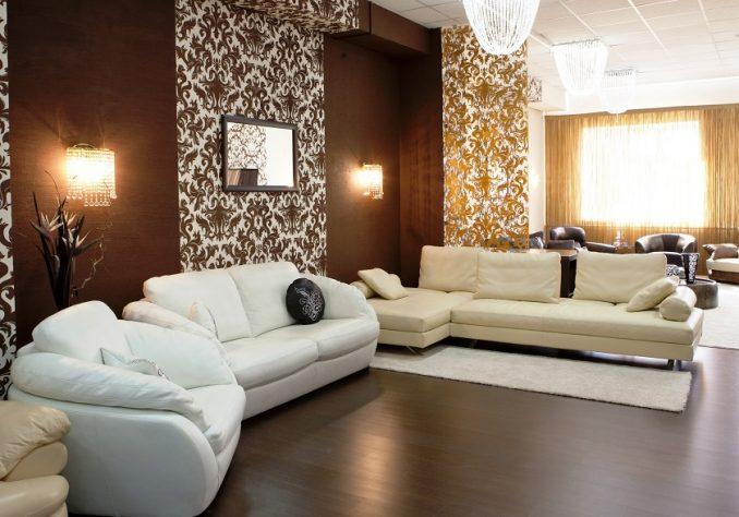Комбинированные обои в гостиную (фото)