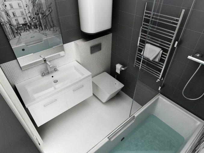 Оформление черно - белой ванной комнаты