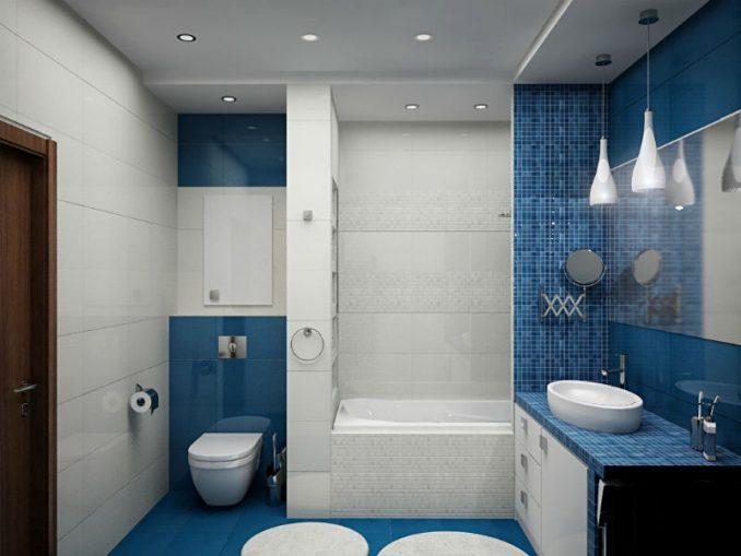 Синяя ванная комната