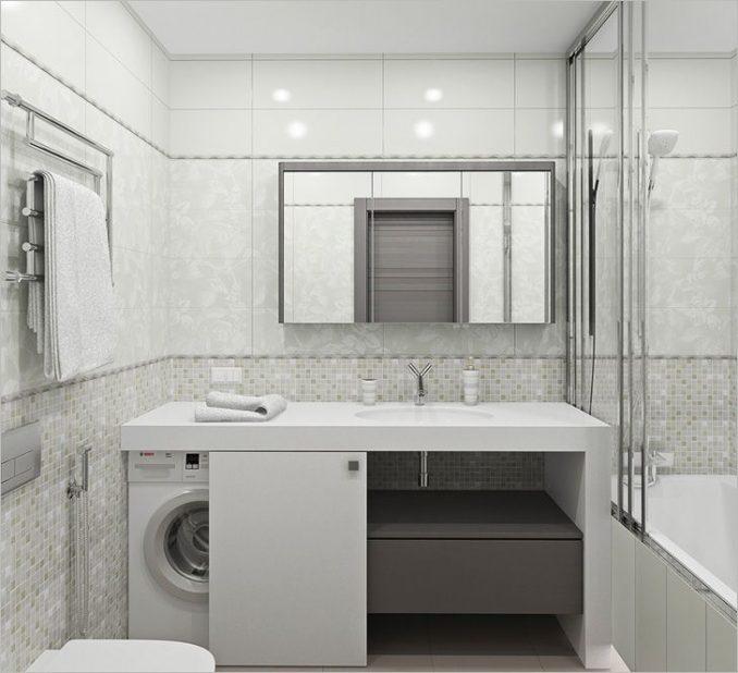 Светлая ванная в хрущевке