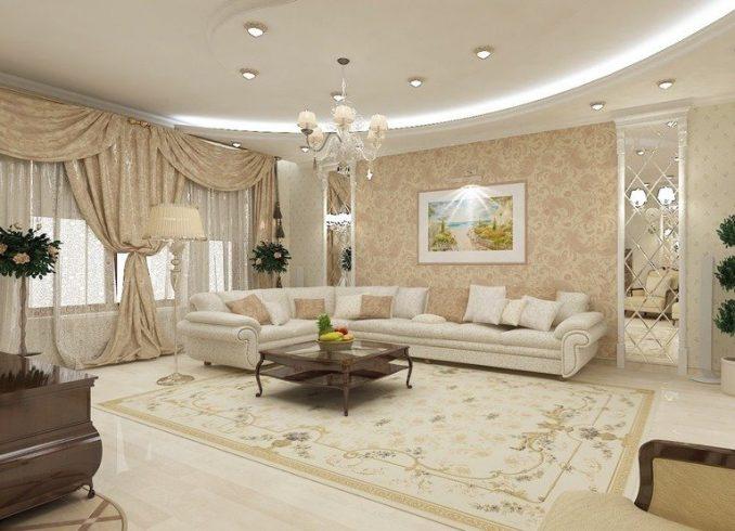 Светло коричневая гостиная