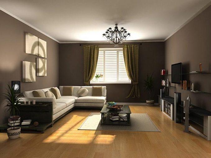 Интерьер гостиной в коричневых тонах фото