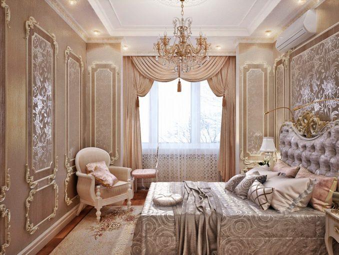 Богатая спальня в классическом стиле