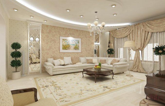 Большая гостиная комната фото
