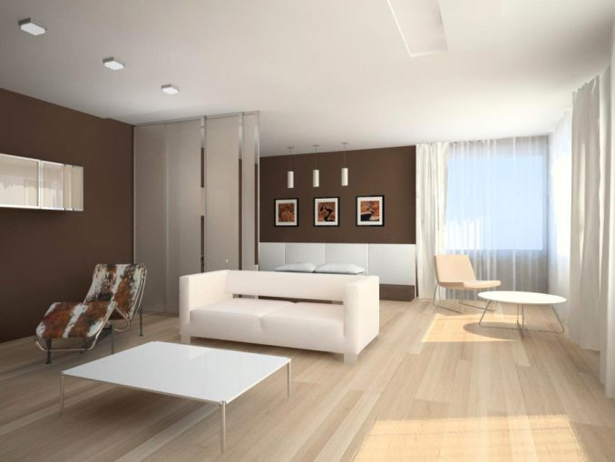 Большая гостиная с стиле минимализм