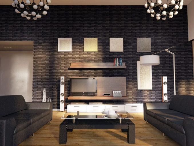 Декоративный черный камень в зале
