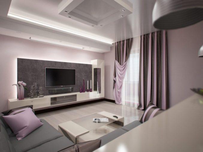 Дизайн фиолетовой гостиной комнаты 17 кв м