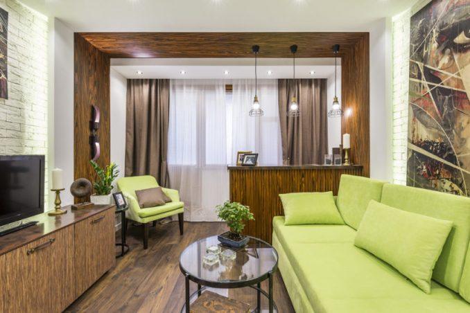 Дизайн гостиной с зоной отдыха на лоджии