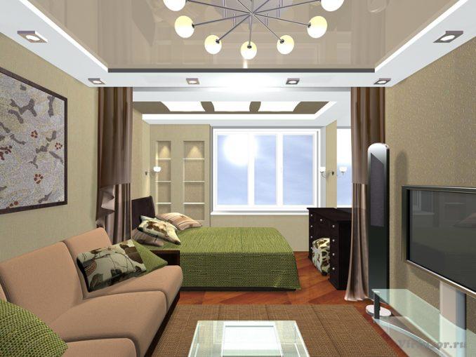 Дизайн гостиной со спальней