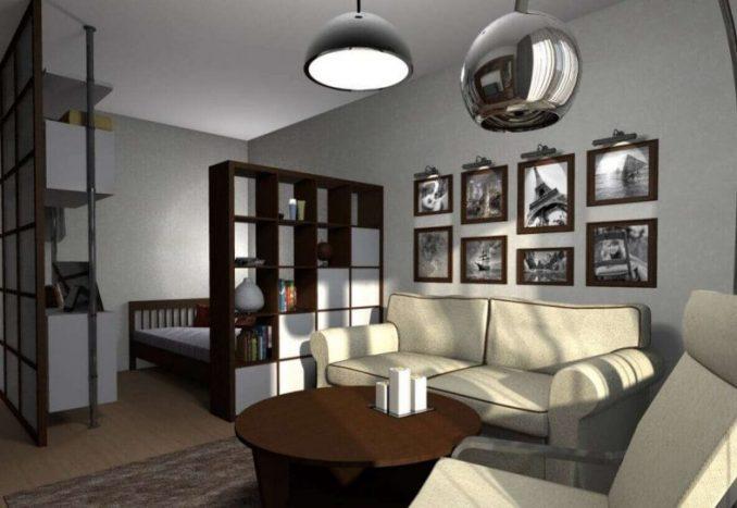 Дизайн гостиной со спальней с перегородкой