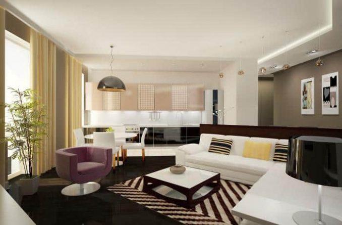 Дизайн гостиной совмещённой с кухней в современном стиле
