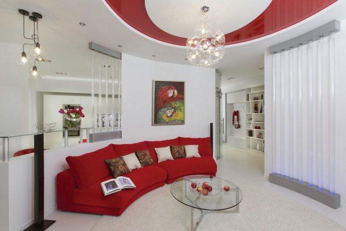 Дизайн гостиной в красно-белом цвете