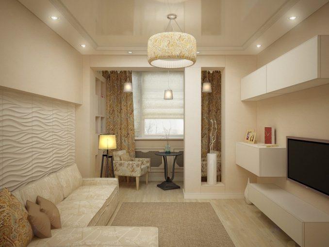 Дизайн гостиной в постельных тонах