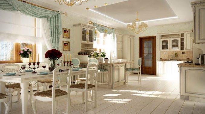 Дизайн интерьера гостиной, совмещённая с кухней в стилепрованс