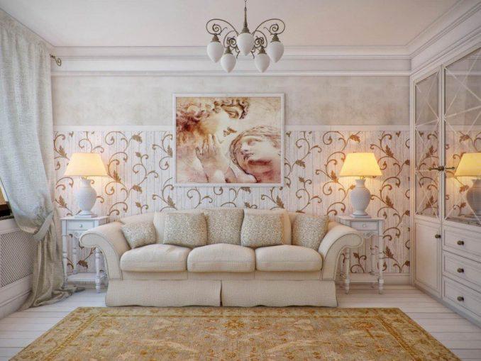 Дизайн интерьера гостиной в стиле прованс с картиной