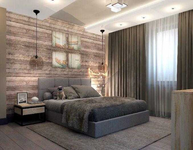 Дизайн интерьера стиля лофт в спальне