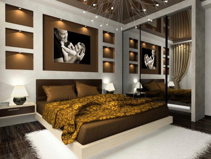 Дизайн комбиинированния цветных стен в спальне