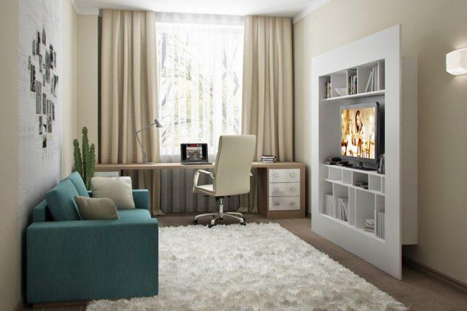 Дизайн маленькой гостиной с плоским шкафом