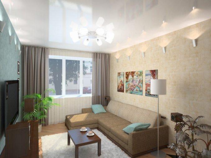 Дизайн маленькой гостиной с угловым диваном