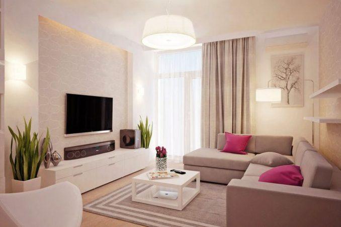 Дизайн маленькой гостиной в постельных тонах комнаты