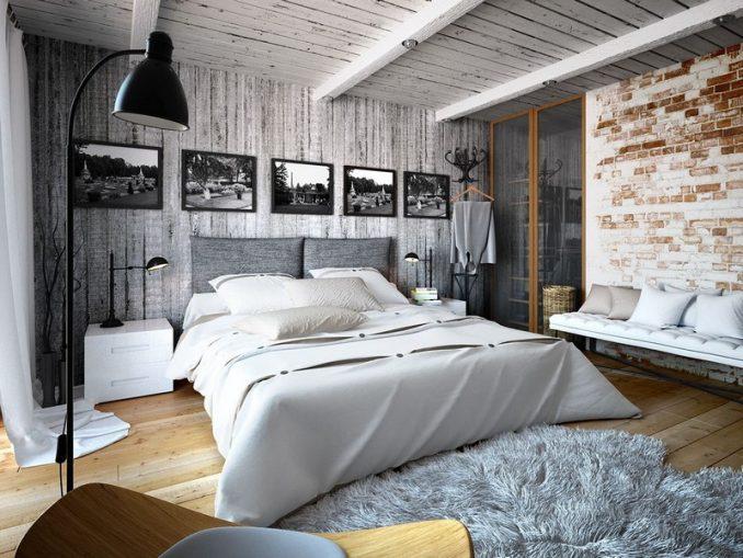 Дизайн-проект в стилеЛофтдля спальни