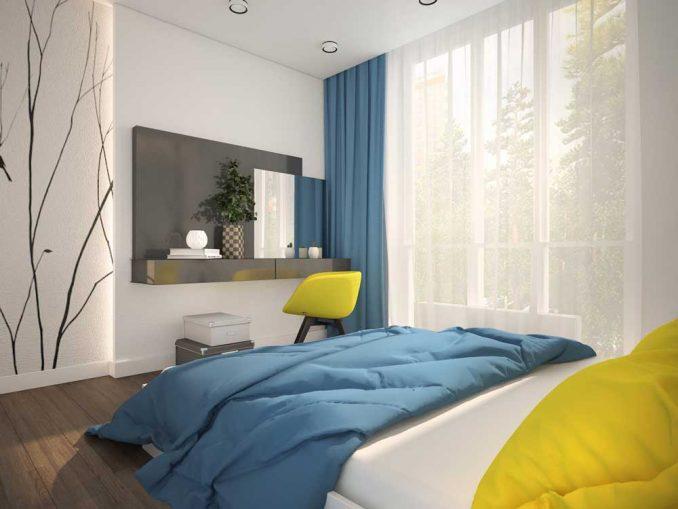 Дизайн спальни 9 кв. м. в современном стиле фото