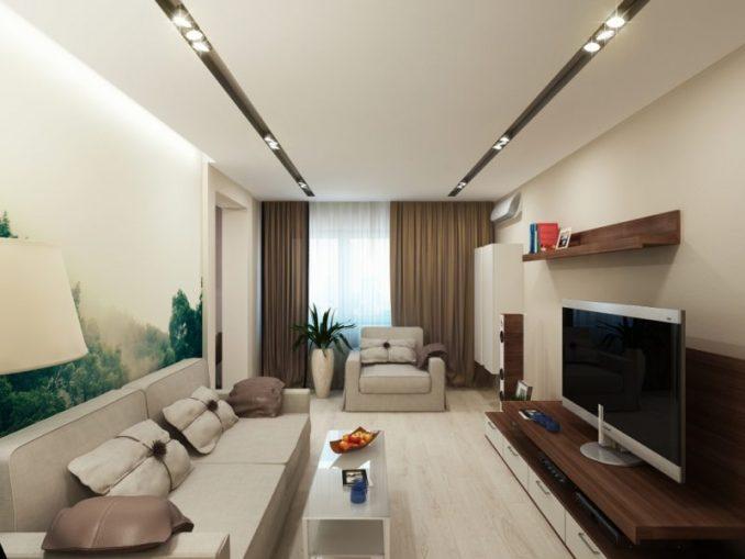 Дизайн узкой гостиной