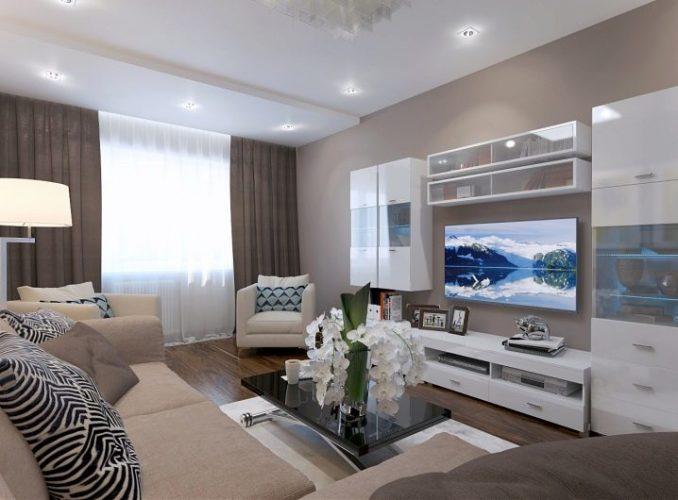 Дизайн зала 17 кв. м. в квартире