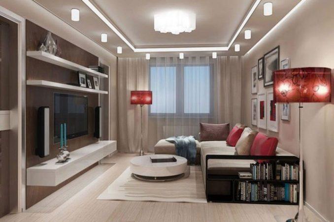 Дизайн зала 17 квадратных метров