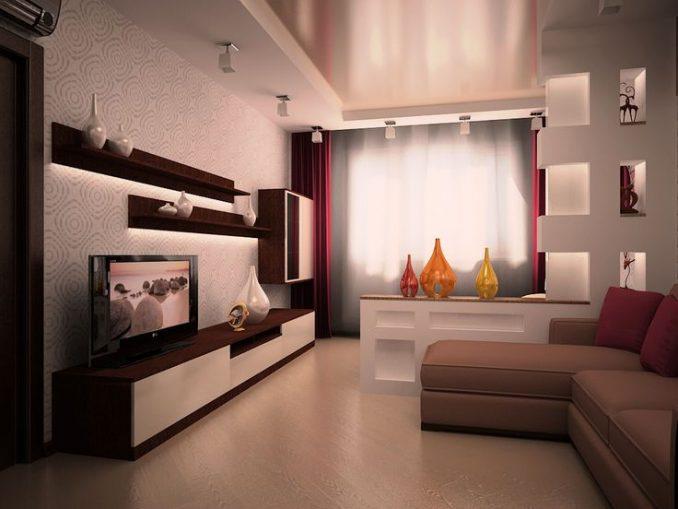 Дизайнерское решения гостиной комнаты 17 кв м