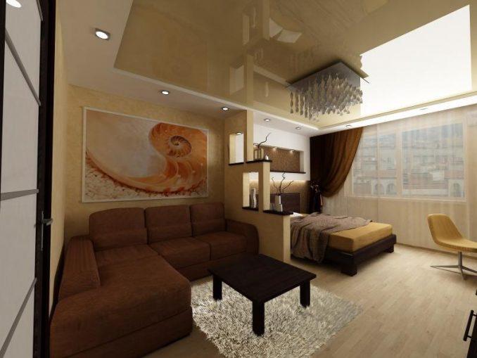 Два в одном — гостиная совмещенная со спальней