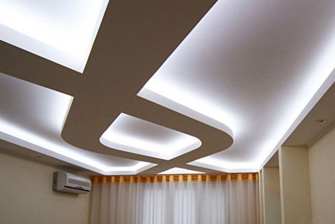 Фигурные потолки из гипсокартона фото
