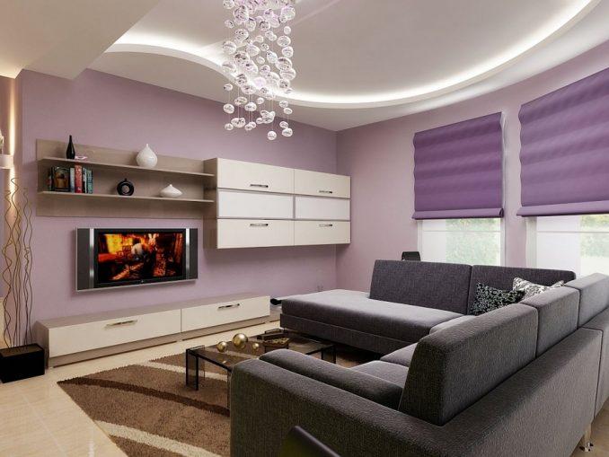 Фиолетовая гостиная комната