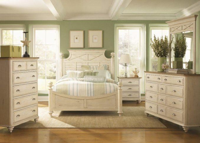 Фисташковый цвет в дизайне спальни в стиле прованс