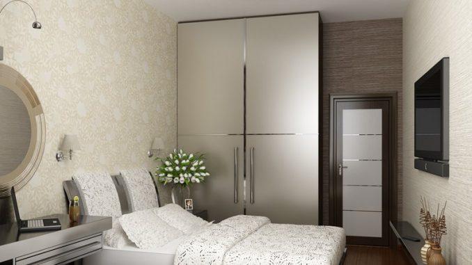 Фото дизайна малогабаритной серой спальни