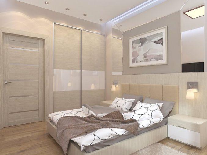 Фото дизайна однотонной спальни