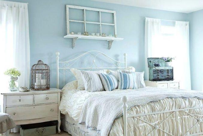Голубой цвет в дизайне спальни в стиле прованс