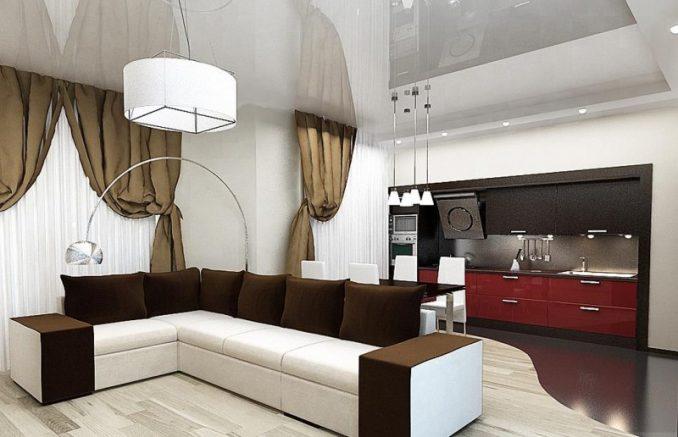 Гостиная с кухней на современный лад