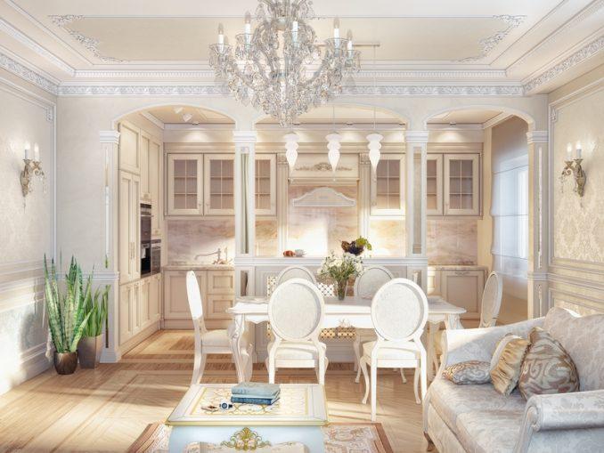 Гостиная с кухней в классическом стиле фото
