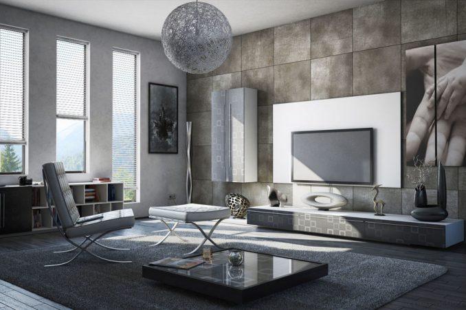 Гостиная серого цвета в стиле минимализм