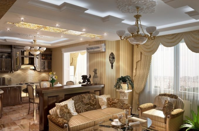 Гостиная, совмещённая с кухней в классическом стиле